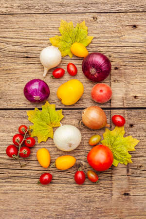Autumn harvest vegetables cooking background. Assortment of different types onions and tomatoes. Old vintage wooden boards background, top view, close up