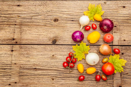 Autumn harvest vegetables cooking background. Assortment of different types onions and tomatoes. Old vintage wooden boards background, top view