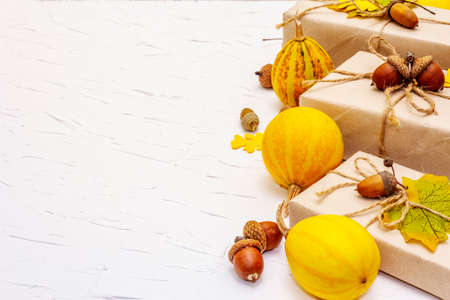 Photo for Zero waste gift concept, no plastic life style. Creative autumn decor with paper boxes, mini pumpkins, acorns and fall leaves. Thanksgiving or Halloween concept on white putty background, copy space - Royalty Free Image