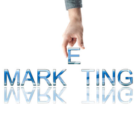 Marketing word made by male hand