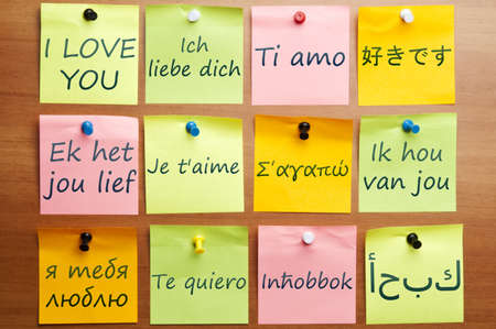 I love you word made by post it in 12  languages
