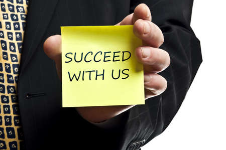 Succeed with us post it in business man hand