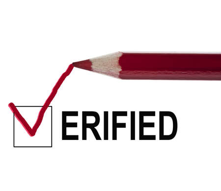 Verified message and red pencil