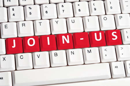 Join-us word on white keyboard