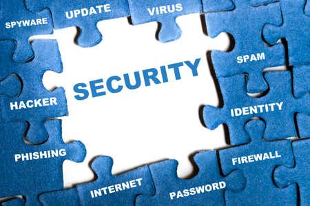 Security blue puzzle pieces assembled
