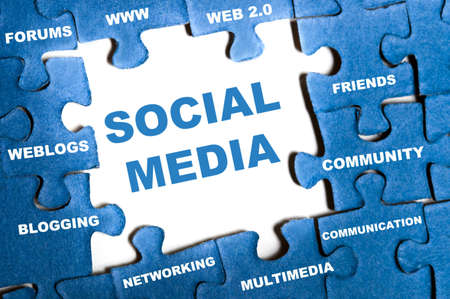 Photo for Social media blue puzzle pieces assembled - Royalty Free Image