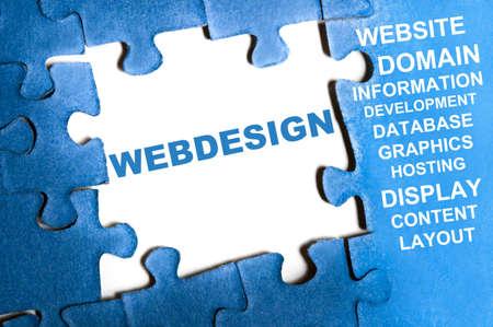 Photo pour Webdesign blue puzzle pieces assembled - image libre de droit