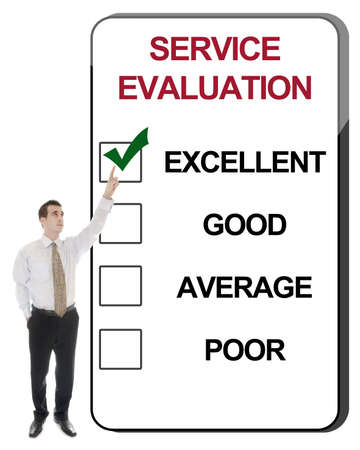 Business man pointing Service Evaluation