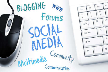 Photo for Social Media word scheme and computer keyboard - Royalty Free Image