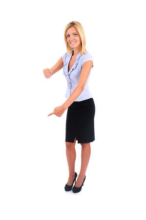 Isolated Young Business Woman Leaning Wall