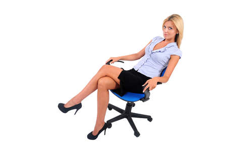Isolated Young Business Woman Sitting