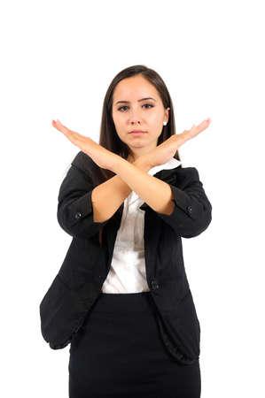 Photo pour Isolated young business woman stop sign - image libre de droit