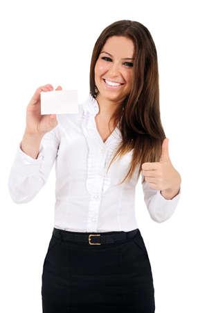 Photo pour Isolated young business woman showing card - image libre de droit