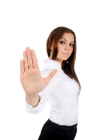 Foto de Isolated young business woman reject - Imagen libre de derechos