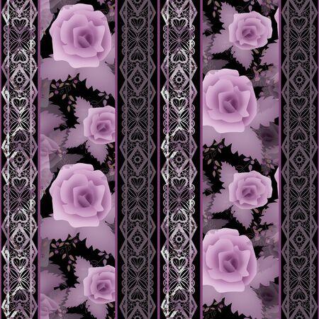 Photo pour Seamless floral white lace pattern with purple roses flowers background - image libre de droit