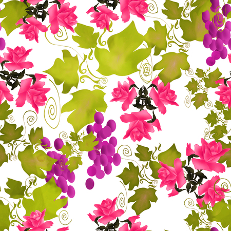 Photo for Seamless pattern with roses and grape on white background - Royalty Free Image