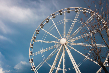 Ferris wheel in the autumn. A tree without leaves. Gloomy sky, rain clouds.