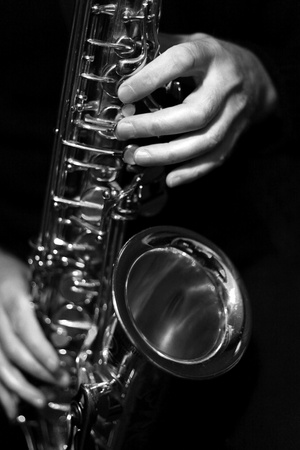 Saxophone Black And White Playing