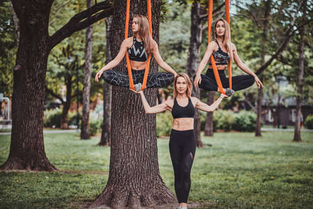 Expirienced trainer and her two students are posing for photographer in the summer park. Two girls are on the slings.