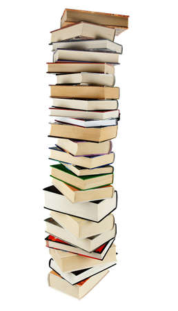 Large stack of books isoltaed on the white