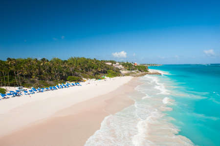 Crane Beach is one of the most beautiful beaches on the Caribbean island of Barbados. It is a tropical paradise with palms hanging over turquoise sea