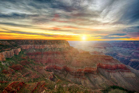 Beautiful colors and shapes of the Grand Canyon shortly after the sunset at Yavapai Point. Arizona USA