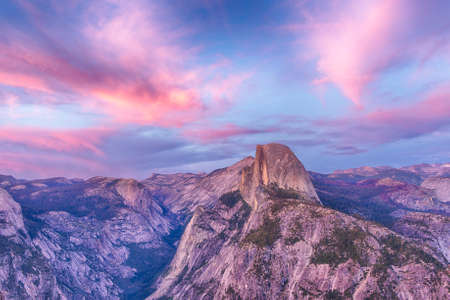 Half Dome seen from the Glacier Point after the sunset. Yosemite National Park, USA