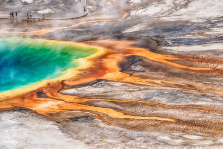Deatiled photo of Grand Prismatic Spring from above with