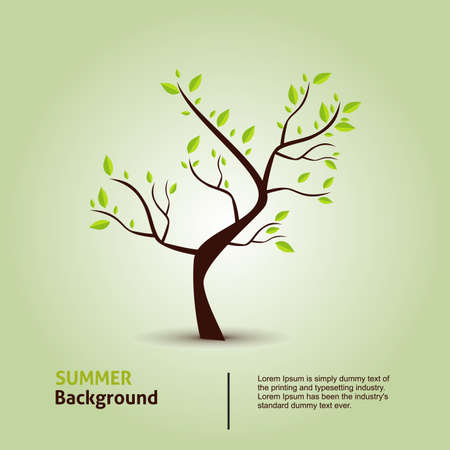 Green tree. Hand draw vector eco background.