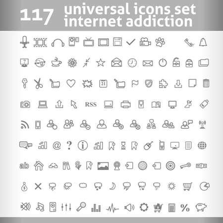 117 Universal Icons Set. Vector Collection. Clean Symbol for Your Design.