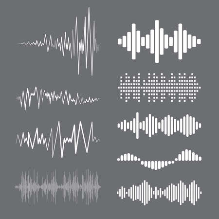 Illustration pour Collection white music wave on gray background. Vector set of isolated audio logos, pulse players, equalizer symbols sound design elements. - image libre de droit