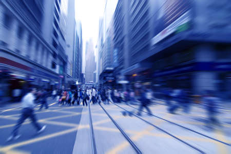 Photo pour rushing on the street in motion blur  - image libre de droit