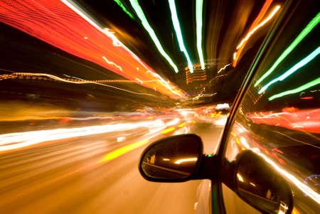 car fast drive at night