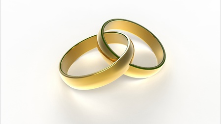 Computer rendering of two interlaced golden wedding rings
