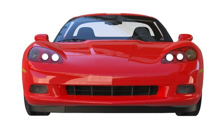 Front view of a modern red american sportscar isolated on white background