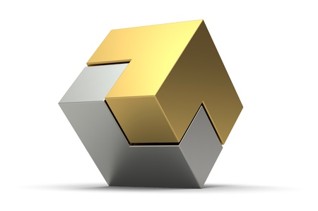 3d gold and silver cube isolated on white background