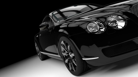 Luxury and powerful black car studio shot