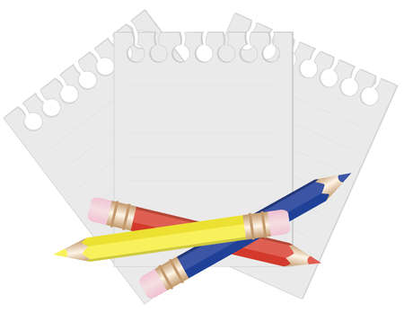 Pencil and paper for notes. vector illustration