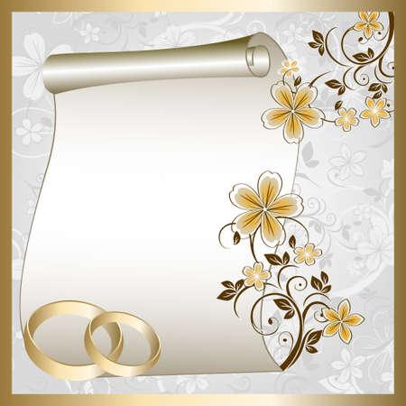 Foto de Wedding card  with a floral pattern and place for text - Imagen libre de derechos
