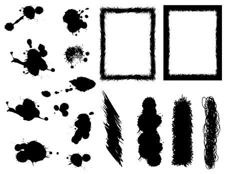 set of banners, brushes and frames and ink blots