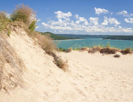 A popular dune overlooking Glen Lake at Sleeping Bear Dunes National Lakeshore.