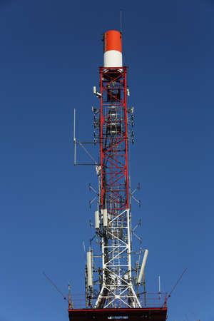 BRASOV, ROMANIA, January 28, 2017: Communications tower with microwave relays on Tampa Mountain, Brasov.