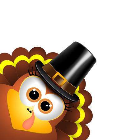Cartoon turkey in a pilgrim hat on a white background