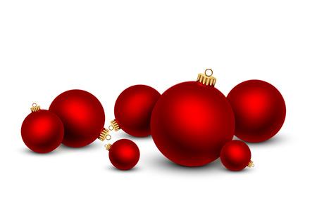 Red Christmas balls on white background. Vector illustration.