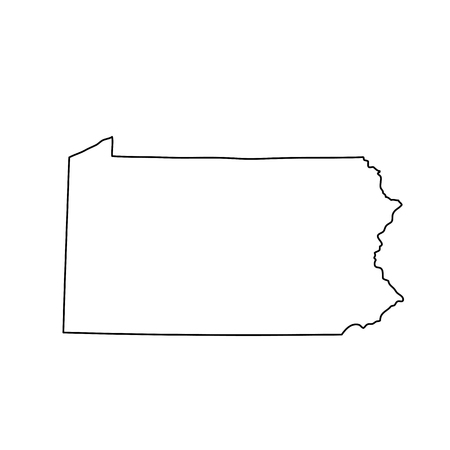 Illustration for map of the U.S. state of Pennsylvania - Royalty Free Image