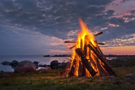 Bonfire in a white nordic summer night