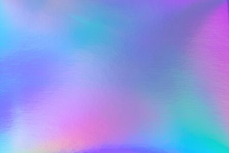 Photo for Abstract trendy rainbow holographic background in 80s style. Blurred texture in violet, pink and mint bright neon colors. - Royalty Free Image