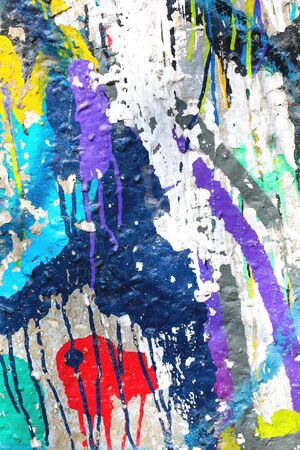 Photo pour Closeup of colorful messy painted urban wall texture. Modern pattern for wallpaper design. Creative urban city background. Abstract open composition. - image libre de droit