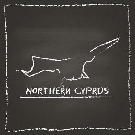 Northern Cyprus outline vector map hand drawn with chalk on a blackboard. Chalkboard scribble in childish style. White chalk texture on black background.