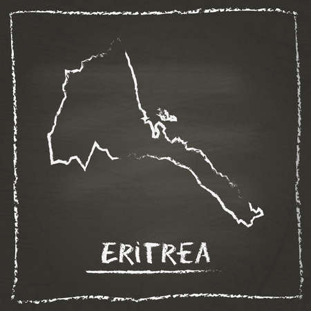 Eritrea outline vector map hand drawn with chalk on a blackboard. Chalkboard scribble in childish style. White chalk texture on black background.